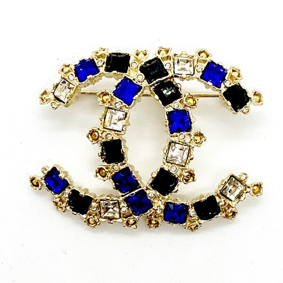 CHANEL Jewelry - CHANEL Brand New Large Crystal Blue Gold Brooch